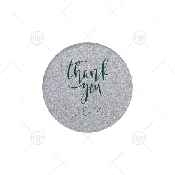 Thank You Kindly Label | Our beautiful custom Stardream Ivory Round Label with Matte Spruce Color has a Thank You 2 graphic and is good for use in Words themed parties and will make your guests swoon. Personalize your party's theme today.