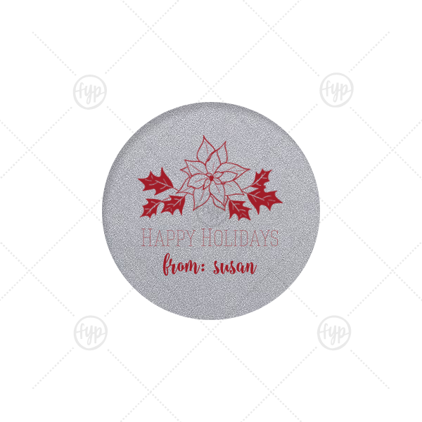 Poinsettia Label   Our personalized Classic Crest White Round Label with Matte Merlot Ink Color has a Pointsettia graphic and is good for use in Holiday, Christmas, Floral themed parties and can't be beat. Showcase your style in every detail of your party's theme!
