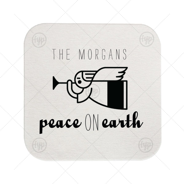 Peace On Earth Coaster | Our custom White Square Coaster with Matte Spruce Foil Color has a Angel 2 graphic and is good for use in Christian Symbols, Christmas themed parties and will look fabulous with your unique touch. Your guests will agree!