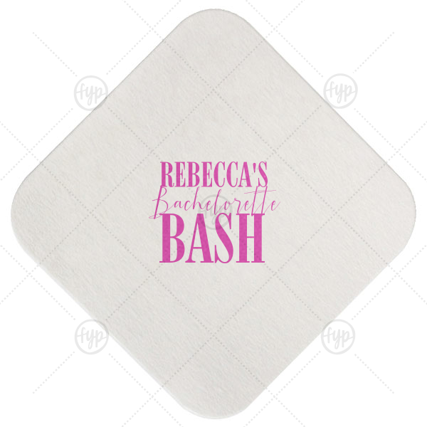 Bachelorette Bash Coaster | The ever-popular Eggshell Square Coaster with Satin Fuchsia Foil Color can be personalized to match your party's exact theme and tempo.