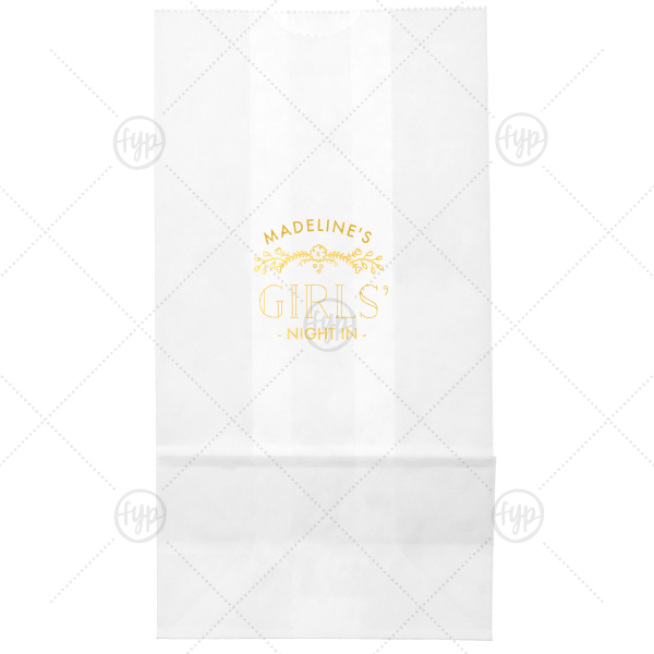 Girls' Night In Bag | Personalized White Goodie Bag with Shiny 18 Kt Gold Foil Color has a Marigold Vine graphic and is good for use in Accents themed parties and will look fabulous with your unique touch. Your guests will agree!