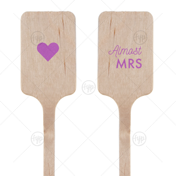 Bachelorette Brunch Stir Stick | Our beautiful custom Satin Plum Rectangle Stir Stick with Satin Plum Foil Color and Matte White Foil Color has a Solid Heart graphic and is good for use in Wedding themed parties and can be personalized to match your party's exact theme and tempo.