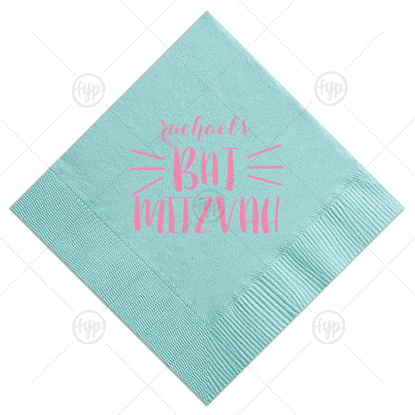 ForYourParty's elegant Tiffany Blue Cocktail Napkin with Matte Ballet Pink Foil Color can be personalized to match your party's exact theme and tempo.