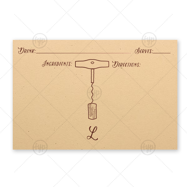 Our custom Natural Sand Recipe Card with Shiny Merlot Foil has a Corkscrew graphic and is good for use in Drink, Wine, Food themed parties and will look fabulous with your unique touch. Your guests will agree!