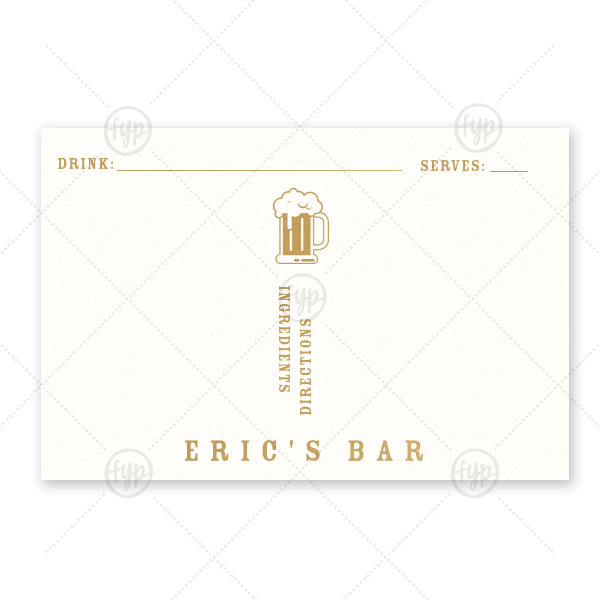 Beer Mug Drink Recipe Card | Custom Strathmore White Recipe Card with Satin 18 Kt. Gold Foil has a Brew graphic and is good for use in Drinks, Beer, Food themed parties and couldn't be more perfect. It's time to show off your impeccable taste.