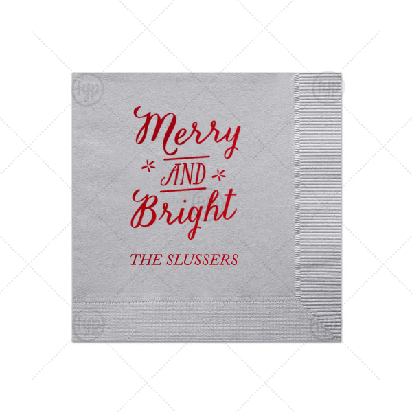 Merry and Bright Napkin | Our beautiful custom Silver Shimmer Cocktail Napkin with Shiny Convertible Red Foil Color has a Merry and Bright graphic and is good for use in Christmas themed parties and can be customized to complement every last detail of your party.