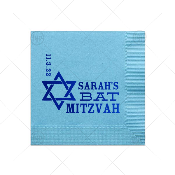 Star Of David Bat Mitzvah Napkin | Personalized Turquoise Cocktail Napkin with Shiny Royal Blue Imprint Foil Color has a Star 1 graphic  and is good for use in Stars, Jewish Symbols themed parties and can be personalized to match your party's exact theme and tempo.