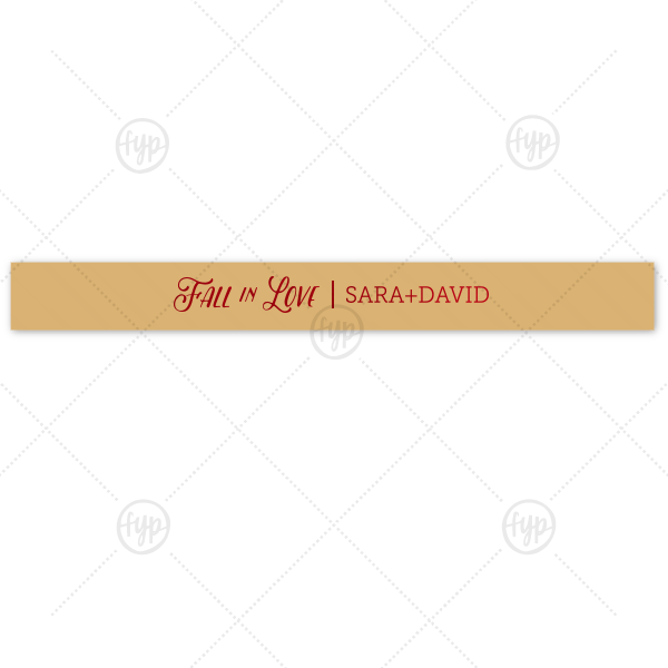 Fall in Love Ribbon | Customize this Fall in Love Gold ribbon with Matte Merlot Imprint Foil Color for a beautiful fall accent to your wedding or shower party favors. Add your names for a personal touch guests will love!