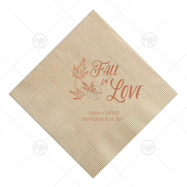 Fall in Love Napkin | For Your Party's chic Sand Cocktail Napkin with Shiny 18 Kt Gold Imprint Foil Color pairs our Falling Leaves graphic with your names and special date. It couldn't be more perfect for fall weddings or rust themed parties! It's time to show off your impeccable taste.