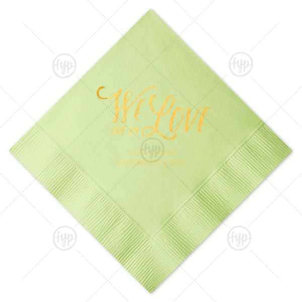 Pear Branch Napkin | ForYourParty's chic Honeydew Cocktail Napkin with Shiny 18 Kt Gold Imprint Foil Color has a Pear Branch graphic that is lovely for fall weddings and rustic or greenery themed parties. Add your names and date for that special attention to detail that cannot be overlooked.