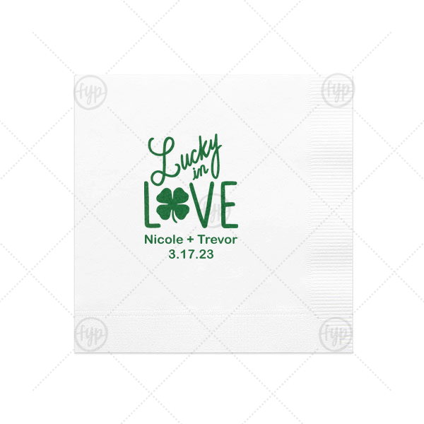 Personalized White Cocktail Napkin with Satin Leaf Foil has a Lucky In Love graphic and is good for use in St. Patty's Day, Wedding themed parties and will look fabulous with your unique touch. Your guests will agree!