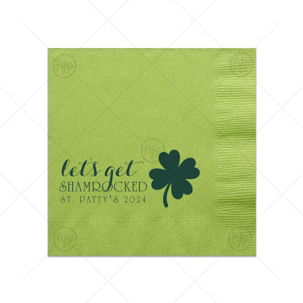 Let's Get Shamrocked Napkin | Custom Kiwi Cocktail Napkin with Matte Spruce Foil has a Four Leaf Clover graphic and is good for use in Holiday, St. Patricks Day themed parties and can be customized to complement every last detail of your party.