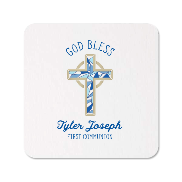 Blue Cross Photo/Full Color Coasters | The ever-popular White Photo/Full Color Square Coaster with Matte Royal Blue Ink Digital Print Colors will impress guests like no other. Make this party unforgettable.