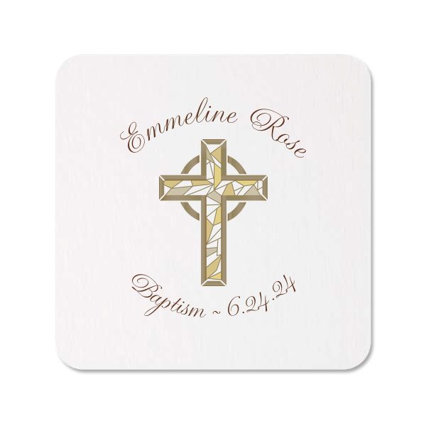 Gold Cross Photo/Full Color Coasters | ForYourParty's chic White Photo/Full Color Square Coaster with Matte Chocolate Ink Digital Print Colors are a must-have for your next event—whatever the celebration!