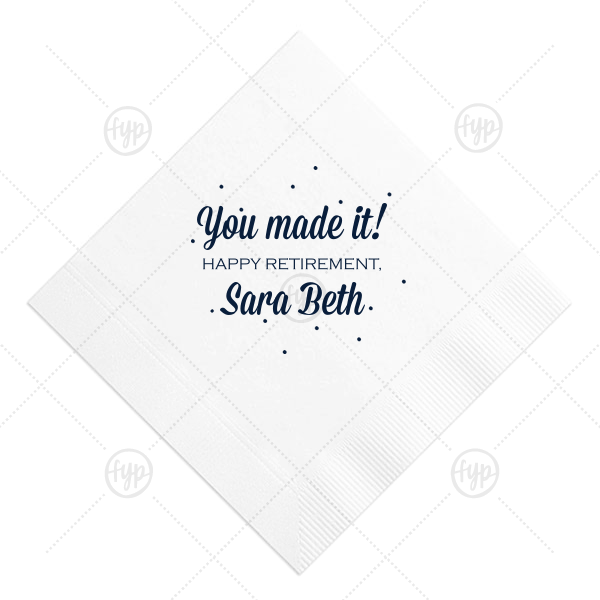 You Made It Napkin | ForYourParty's chic White Cocktail Napkin with Matte Navy Imprint Foil Color has a Glitter Design graphic  and is good for use in Lovely Press themed parties and are a must-have for your next event—whatever the celebration!