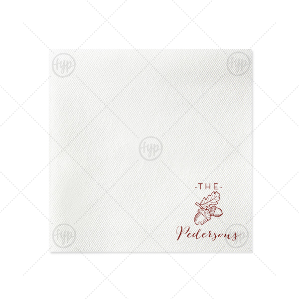 Forest Name Napkin   Personalized Moss Green Linen Like Dinner Napkin with Matte Merlot Imprint Foil Color has a Forest graphic and is good for use in Rustic, Nature themed parties and are a must-have for your next event—whatever the celebration!