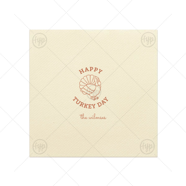 Our custom Ivory Linen Like Dinner Napkin with Satin Copper Penny Imprint Foil Color has a Live Turkey graphic and is good for use in Holiday, Thanksgiving themed parties and will make your guests swoon. Personalize your party's theme today.