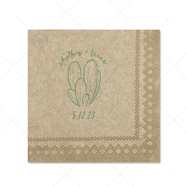 Cactus Napkin | The ever-popular Champagne Shimmer Cocktail Napkin with Satin Leaf Imprint Foil Color has a Cactus 4 graphic and is good for use in Floral, Southwestern themed parties and will give your party the personalized touch every host desires.