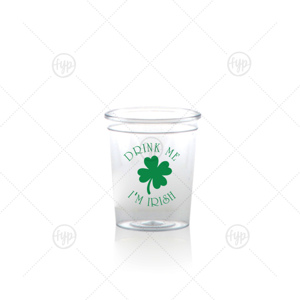 Our personalized Matte Leaf Ink Plastic Shot Glass with Matte Leaf Ink Cup Ink Colors has a Four Leaf Clover graphic and is good for use in Holiday, St. Patricks Day themed parties and can't be beat. Showcase your style in every detail of your party's theme!
