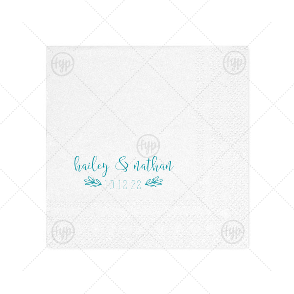 Date Flourish Napkin | ForYourParty's personalized Crystal White Shimmer Cocktail Napkin with Shiny Turquoise Imprint Foil Color has a Hand Wreath RSVP graphic  and is good for use in Rustic or Floral themed parties and will add that special attention to detail that cannot be overlooked.