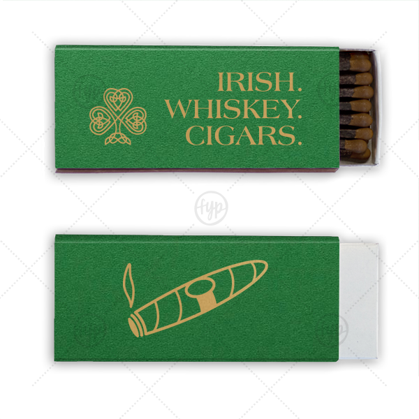 Our custom Natural Leaf Cigar Matchbox with Satin 18 Kt. Gold Foil has a clover knot graphic and a Cigar graphic and is good for use in Father's Day, Retirement, Birthday, St Patrick's Day themed parties and will give your party the personalized touch every host desires.