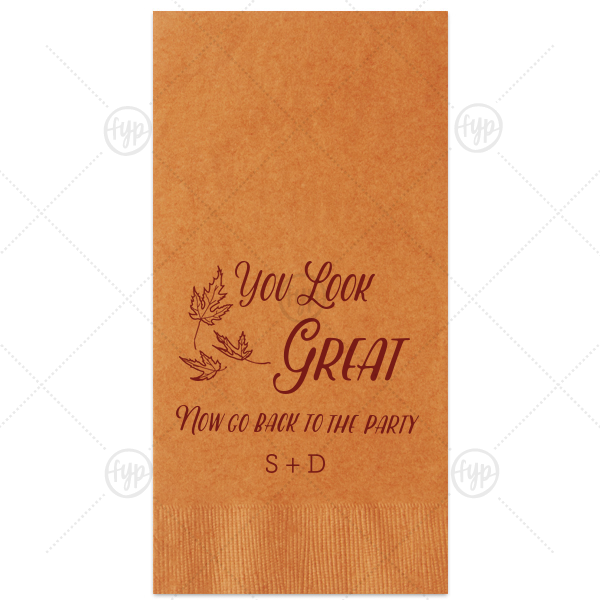 Dress up restrooms and send guests back to the party with this fun Guest Towel. Personalize the Burnt Sienna Guest Towel with Matte Merlot Foil Color by adding your initials or last name to complement our Three Leaves graphic. Showcase your style in every detail of your party's theme!