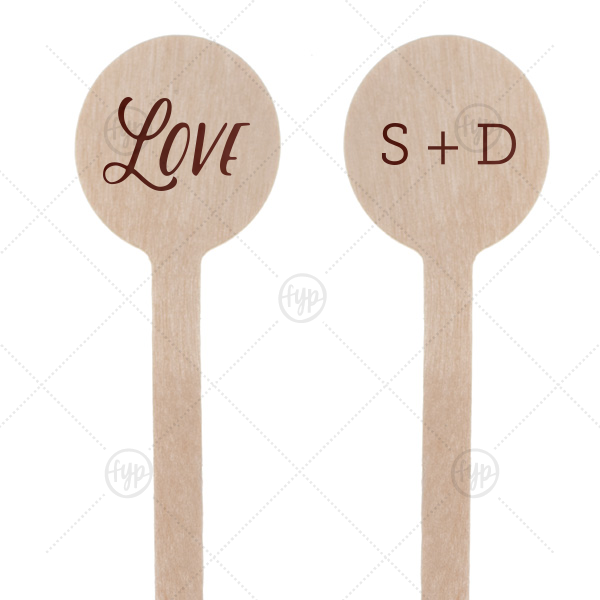 Love Stir Stick | Custom Shiny Merlot Round Stir Stick with Shiny Merlot Imprint Foil Color can't be beat. Showcase your style in every detail of your party's theme!