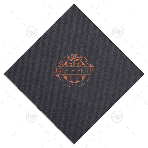 Wedding of Badge Napkin | ForYourParty's elegant Black Linen Like Dinner Napkin with Satin Copper Penny Foil Color has a Wedding Badge graphic and is good for use in Wedding themed parties and are a must-have for your next event.