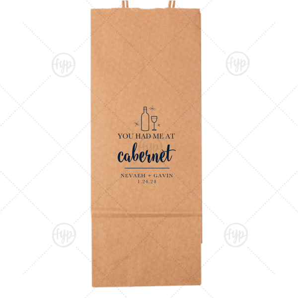 ForYourParty's chic Kraft Wine Gift Bag with Matte Navy Foil Color has a Wine Bottle graphic and is good for use in Drink and Wine themed parties and can be customized to complement every last detail of your party.
