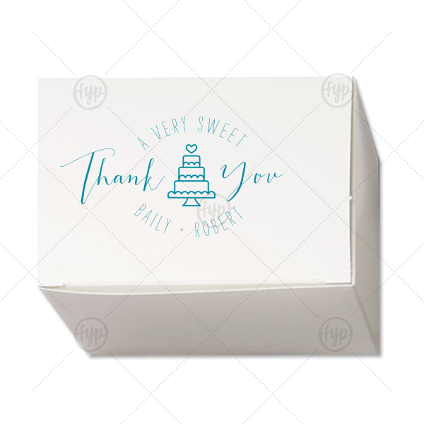Sweet Thank You Box | Our custom Satin Teal / Peacock Cake Box with Satin Teal / Peacock Foil Color has a Wedding Cake graphic and is good for use in Food, Wedding themed parties and will make your guests swoon. Personalize your party's theme today.