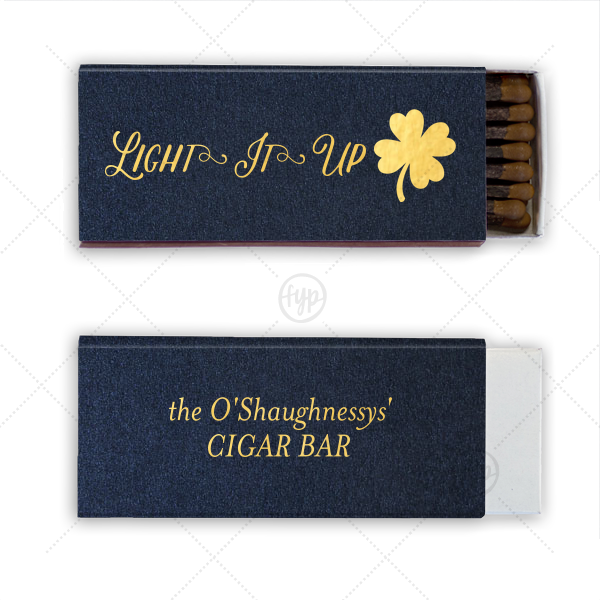 ForYourParty's personalized Stardream Navy Cigar Matchbox with Shiny 18 Kt Gold Foil has a Four Leaf Clover graphic and is good for use in Holiday, St. Patricks Day themed parties and couldn't be more perfect. It's time to show off your impeccable taste.