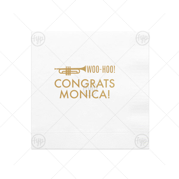 Our personalized White Cocktail Napkin with Satin 18 Kt. Gold Foil Color has a Horn 2 graphic and is good for use in Music themed parties and will add that special attention to detail that cannot be overlooked.