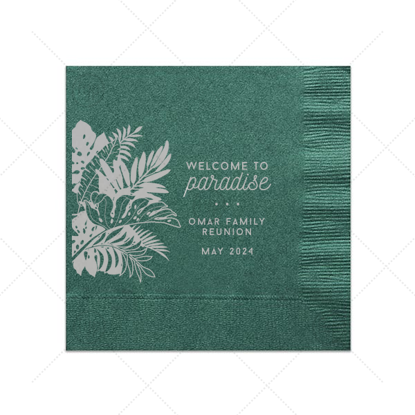 Welcome to Paradise Napkin | Custom Honeydew Cocktail Napkin with Satin Teal / Peacock Foil Color has a Full Bleed Tropical Leaves graphic and is good for use in Full Bleed themed parties and are a must-have for your next event—whatever the celebration!