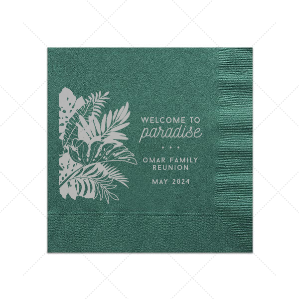 Custom Honeydew Cocktail Napkin with Satin Teal / Peacock Foil Color has a Full Bleed Tropical Leaves graphic and is good for use in Full Bleed themed parties and are a must-have for your next event—whatever the celebration!