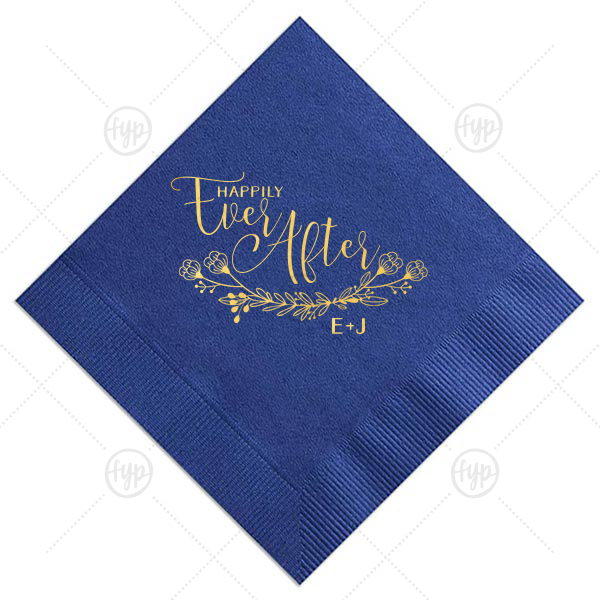 Personalized Tiffany Blue Cocktail Napkin with Shiny 18 Kt Gold Foil Color has a HandWreathReception graphic and is good for use in Lovely Press themed parties and can be customized to complement every last detail of your party.