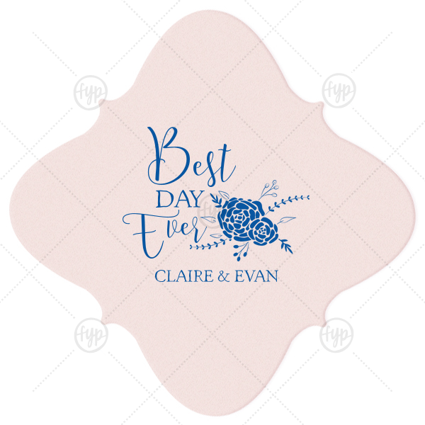 Best Day Ever Bouquet Coaster  | Our custom Blush with Kraft back Nouveau Coaster with Matte Royal Blue Foil Color has a Floral Vine RSVP graphic and is good for use in Lovely Press themed parties and can be personalized to match your party's exact theme and tempo.