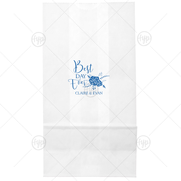 Best Day Ever Bouquet Bag | Our custom White Goodie Bag with Matte Royal Blue Foil Color has a Floral Vine RSVP graphic and is good for use in Lovely Press themed parties and can be customized to complement every last detail of your party.