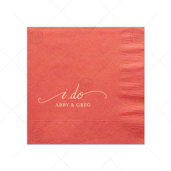 I Do Napkin | Our beautiful custom Coral Cocktail Napkin with Matte Ivory Foil has a I Do graphic and is good for use in Bridal Shower and Wedding celebrations and will give your party the personalized touch that will make your event memorable.