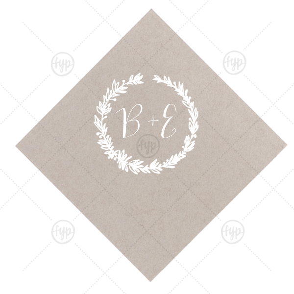 Pretty Initials Wreath Napkin | The ever-popular Seaglass Cocktail Napkin with Matte White Foil Color has a Leaf Frame and is good for use in Garden themed parties and will give your party the personalized touch every host desires.