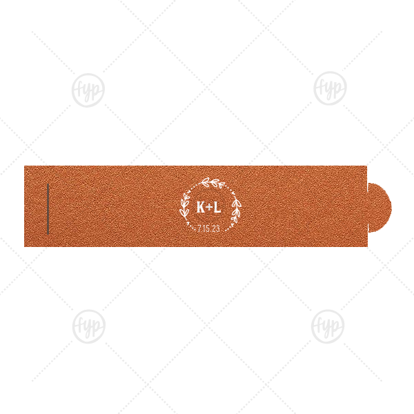 Date Wreath Napkin Ring | Our personalized Stardream Copper Napkin Ring with Matte White Foil has a Date Wreath graphic and is good for use in Frames, Wedding themed parties and will make your guests swoon. Personalize your party's theme today.