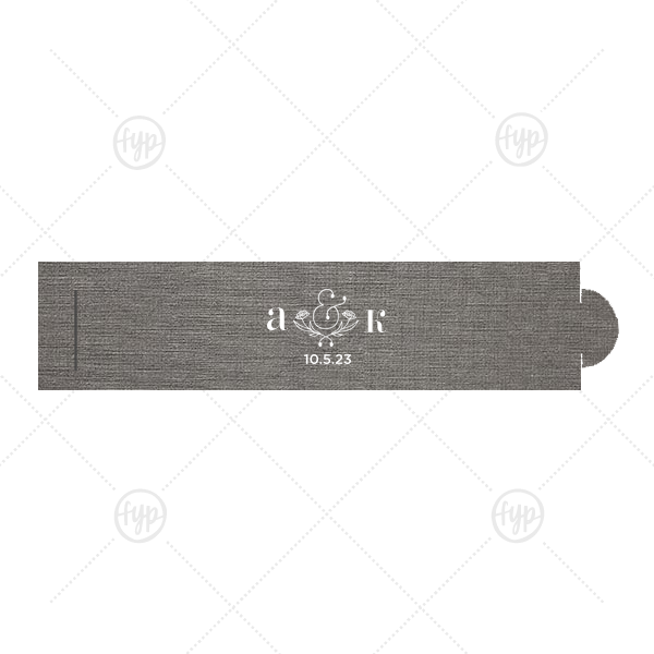 Foral Ampersand Napkin Ring | The ever-popular Linen Slate Napkin Ring with Matte White Foil has a Accent Ampersand 2 graphic and is good for use in Floral, Couple, Wedding themed parties and will impress guests like no other. Make this party unforgettable.