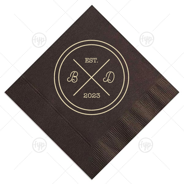 Circle Badge Initials Napkin | Our personalized Espresso Brown Cocktail Napkin with Matte Ivory Foil has a Badge graphic and is good for use in Wedding, Anniversary and Home themed parties and can be personalized to match your party's exact theme and tempo.