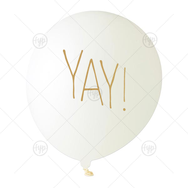 Yay Balloon | Custom White Designer Balloon with Gold Ink Ink Color has a Yay graphic and is good for use in Words themed parties and are a must-have for your next event—whatever the celebration!
