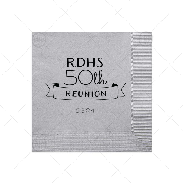Reunion Banner Napkin   Our custom Dove Gray Cocktail Napkin with Matte Black Foil Color has a Banner 3 graphic and is good for use in Accents, Frames themed parties and can be customized to complement every last detail of your party.