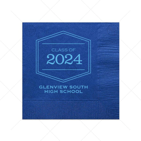 Class Of Frame Napkin | ForYourParty's personalized Royal Blue Cocktail Napkin with Matte Azure Foil Color has a Badge Frame 1 graphic and is good for use in Frames themed parties and can be customized to complement every last detail of your party.