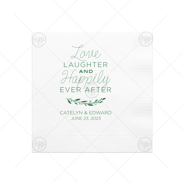 Love Laughter Happily Ever After Napkin | Personalized Honeydew Cocktail Napkin with Satin Fuchsia Foil Color has a Branch 4 graphic and is good for use in Floral themed parties and couldn't be more perfect. It's time to show off your impeccable taste.