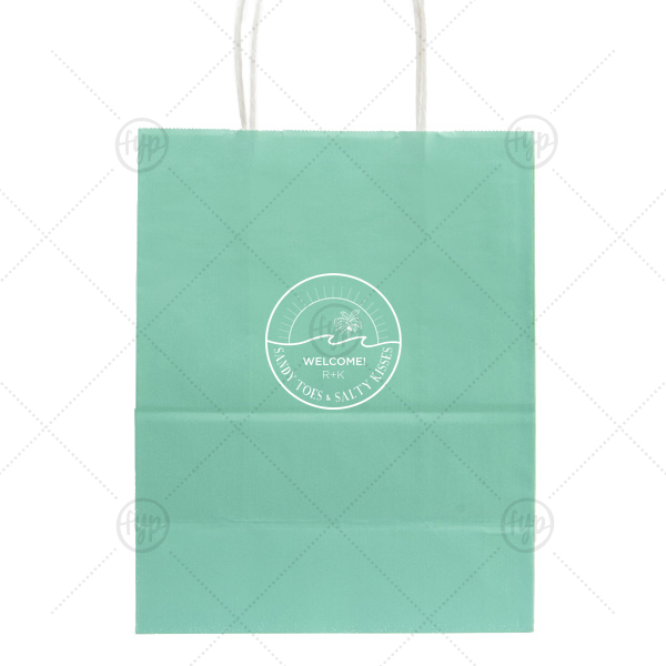 Beach Badge Welcome Bag | Personalized Tiffany Blue Gift Bag with Matte White Foil Color has a Beach Badge graphic and is good for use in Beach/Nautical, Destination, Wedding themed parties and can be personalized to match your party's exact theme and tempo.