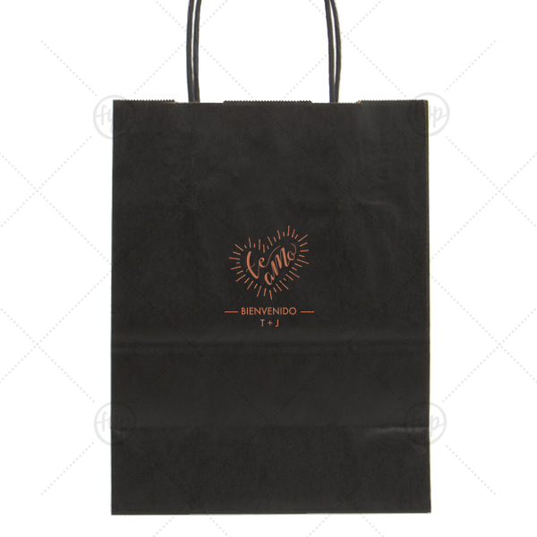 Te Amo Gift Bag | Personalized Black Gift Bag with Satin Copper Penny Foil Color has a Te Amo graphic and is good for use in Spanish, Latino, Wedding themed parties and can be personalized to match your party's exact theme and tempo.