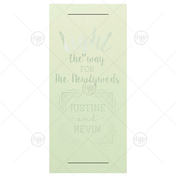 Light the Way Sparkler Sleeve | ForYourParty's personalized Poptone Mint Large Sparkler Sleeve with Shiny Green Tea Foil has a Deco Frame 2 graphic and is good for use in Wedding, Geometric, Anniversary themed parties and will look fabulous with your unique touch. Your guests will agree!