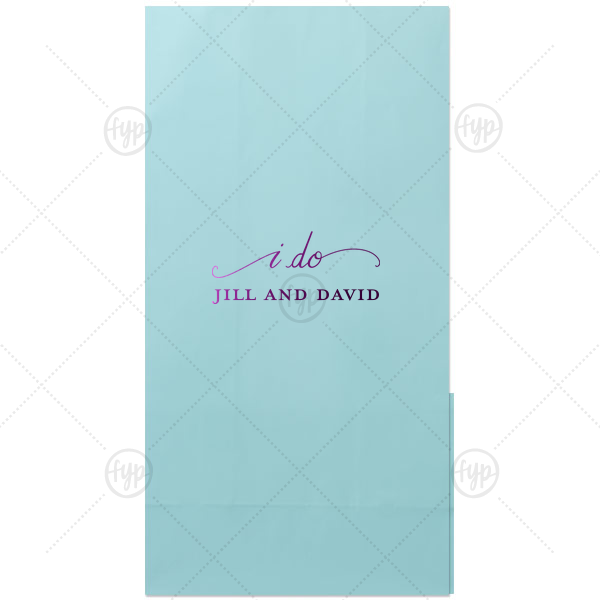 Our custom Turquoise Gloss Goodie Bag with Shiny Turquoise Foil has a I Do graphic and is good for use in Wedding themed parties and will impress guests like no other. Make this party unforgettable.